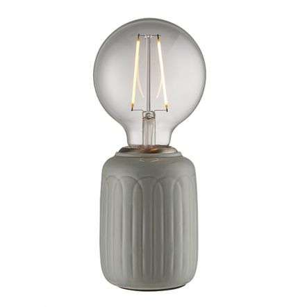 Olivia Table Lamp in Satin Nickel Finish with Thyme Gloss