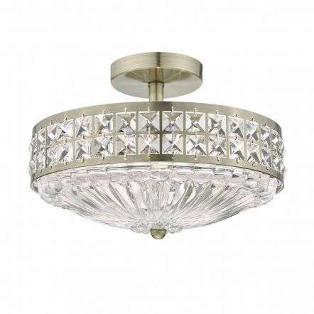 Olona 3lt Semi Flush Antique Brass Crystal Beads & Glass Diffuser