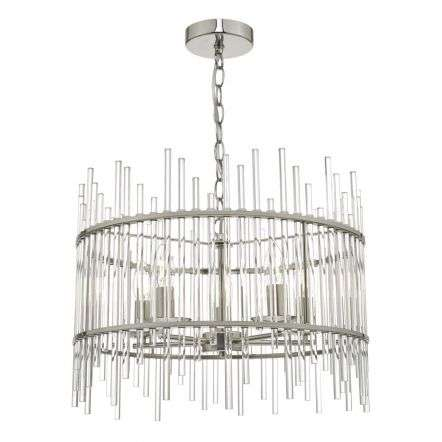 Olyn 5lt Pendant Polished Nickel & Glass