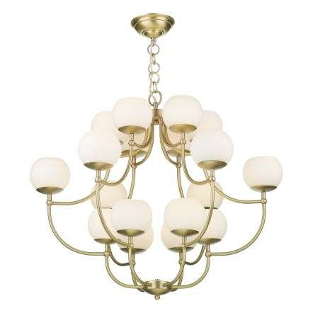 Opera 18 Light Pendant in Butter Brass