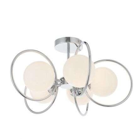 Orb 5 Light Semi-Flush Light with Opal Glass
