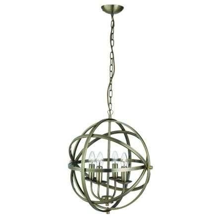 Orbit 4 Light Cage Frame Orb Pendant Antique Brass