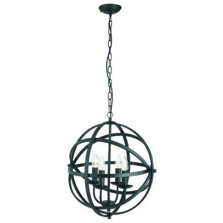 Orbit 4 Light Cage Frame Orb Pendant Matt Black