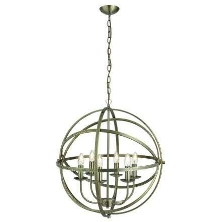 Orbit 6  Light Cage Frame Orb Pendant Antique Brass