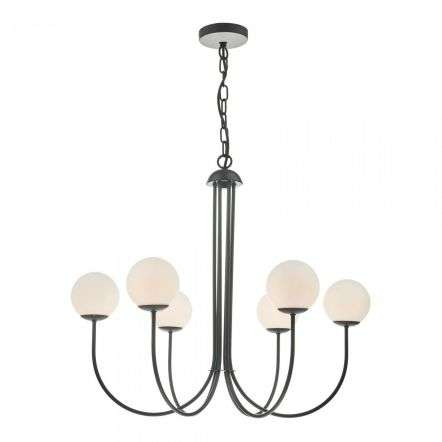 Ornella 6 Light Pendant Matt Black & Opal Glass