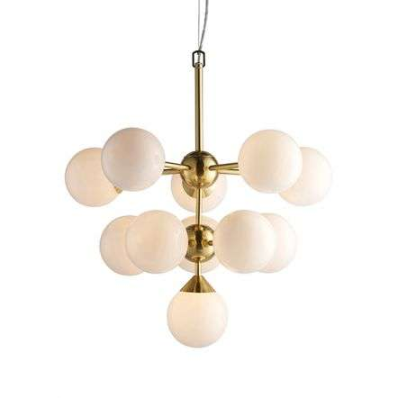 Oscar 11 Light Pendant in Brushed Brass with Gloss White Glass