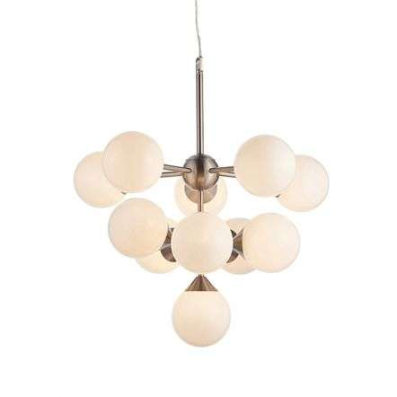 Oscar 11 Light Pendant in Satin Nickel with Gloss White Glass