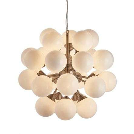 Oscar 28 Light Pendant in Satin Nickel with Gloss White Glass