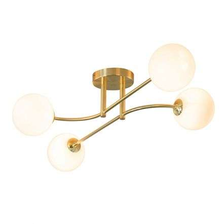 Oscar 4 Light Semi Flush in Brushed Brass with Gloss White Glass