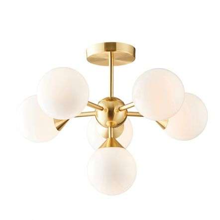 Oscar 6 Light Semi Flush in Brushed Brass with Gloss White Glass