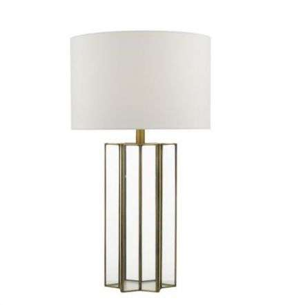Osuna Table Lamp Natural Metal Glass Complete With Shade