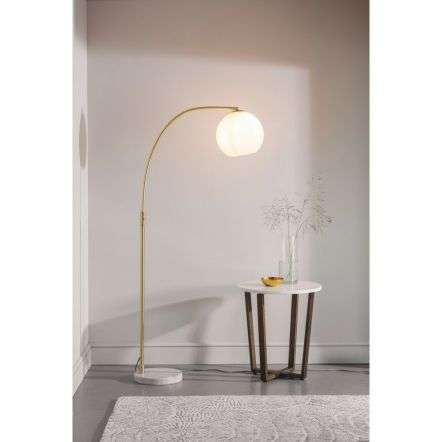 Otto Floor Lamp in Brushed Brass with Gloss Opal Glass