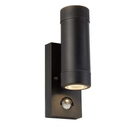 Outdoor PIR 2 Light Cylinder PP Wall Bracket Black