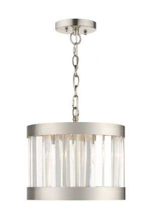 Pandora 1 Light Crystal Pendant Satin Chrome