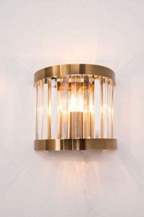 Pandora 1 Light Crystal Wall Light Antique Brass