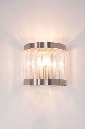 Pandora 1 Light Crystal Wall Light Satin Chrome