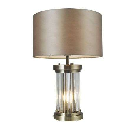 Pandora 2 Light Crystal Table Lamp Antique Brass