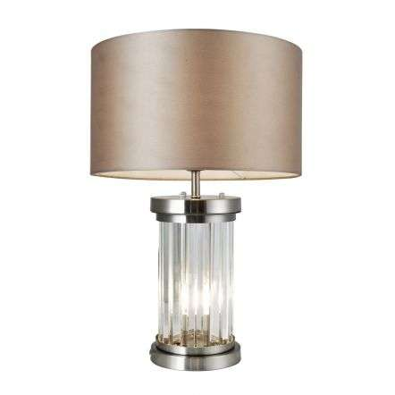 Pandora 2 Light Crystal Table Lamp Satin Chrome