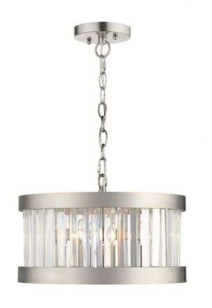 Pandora 3 Light Crystal Pendant Satin Chrome