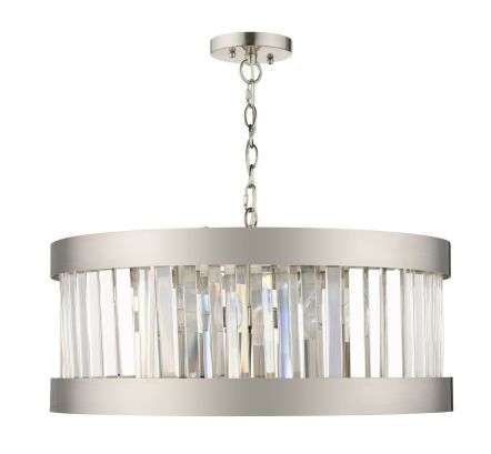 Pandora 5 Light Crystal Pendant Satin Chrome
