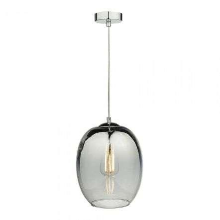 Patrice 1 Light Pendant Silver Glass