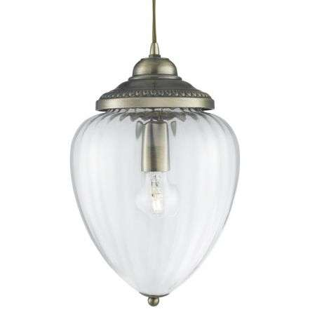 Pendant 1 Light Antique Brass Clear Ribbed Glass