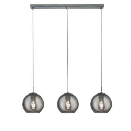 Pendant 3 Light Bar Chrome With Smoke Glass