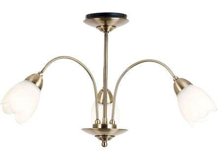 Petal 3 Light Satin Chrome Semi Flush Fitting
