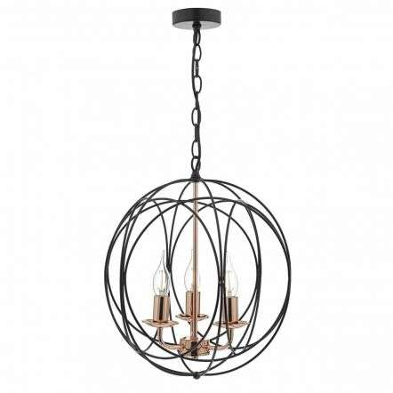 Phoenix 3lt Pendant Black & Copper