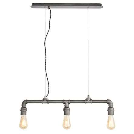 Pipe 3 Light Industrial Sytle Pendant in Pewter Finish