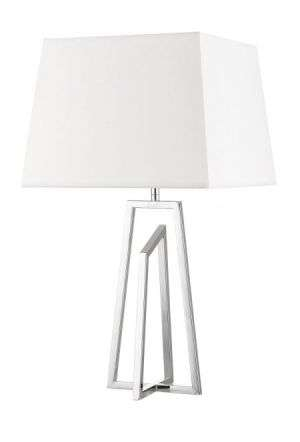 Plaza Polished Chrome Table Lamp c/w Square Shade