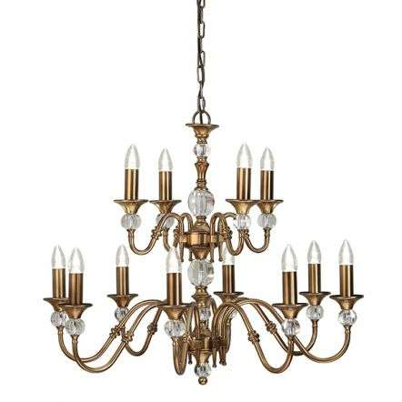 Polina Antique Brass 12 Light Pendant 40W