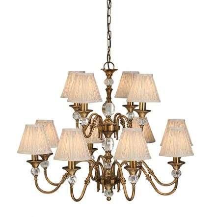 Polina antique Brass 12 Light Pendant & Beige Shades 40W