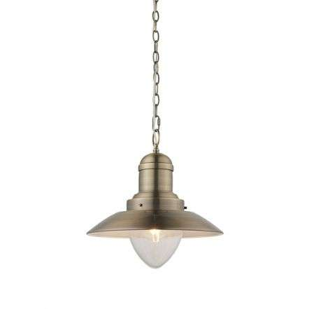 Polperro Pendant in Antique Brass Finish