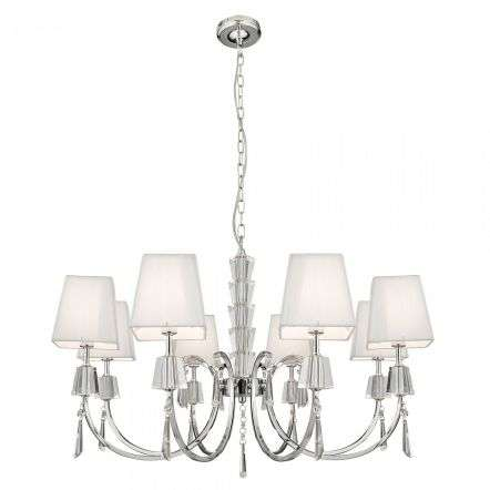Portico Chrome 8lt Fitting with Crystal Drops & White String Shades