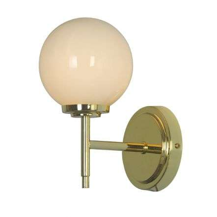 Porto Wall Light in Shiny Brass with Opal Shade IP44