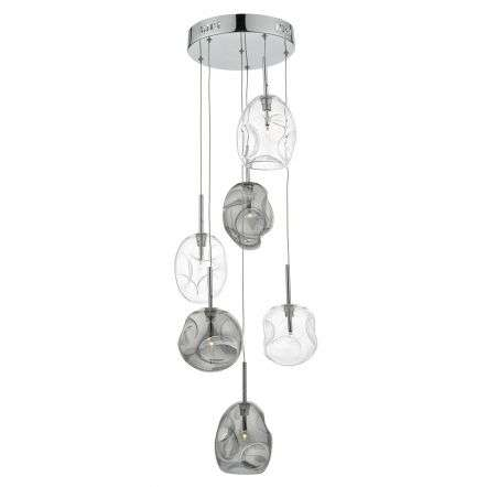 Quinn 6 Light Cluster Pendant Smoked / Clear