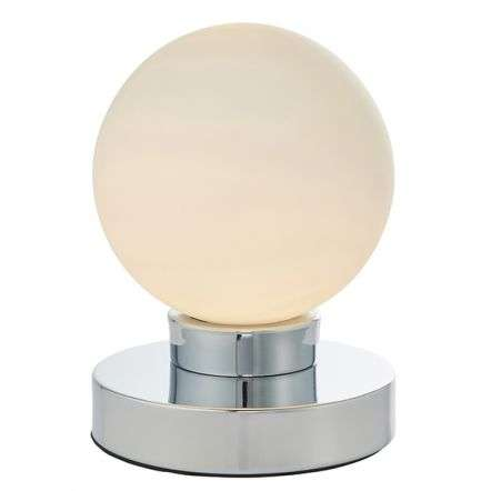 Ratio Chrome Table Lamp with Opal Glass Shade