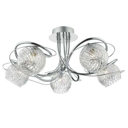 Rehan 5lt Semi Flush Decorative Glass Polished Chrome Frame