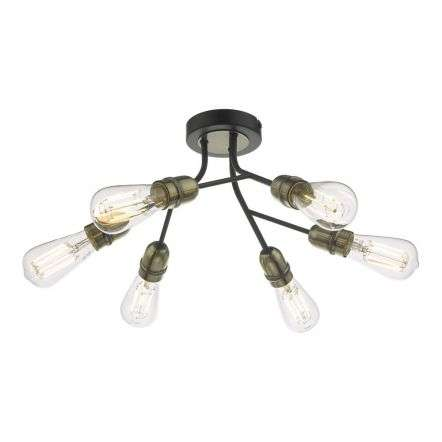 Remy 6 Light Semi Flush Black & Antique Brass