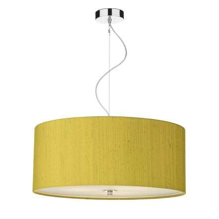 Renoir 60cm 3 Light Pendant C/W Citron Silk Shade