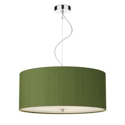 Renoir 60cm 3 Light Pendant C/W Olive Green Silk Shade