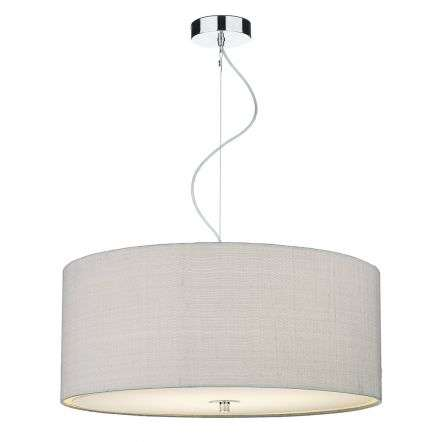 Renoir 60cm 3 Light Pendant C/W Silver Grey Silk Shade