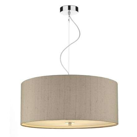 Renoir 60cm 3 Light Pendant C/W Taupe Silk Shade