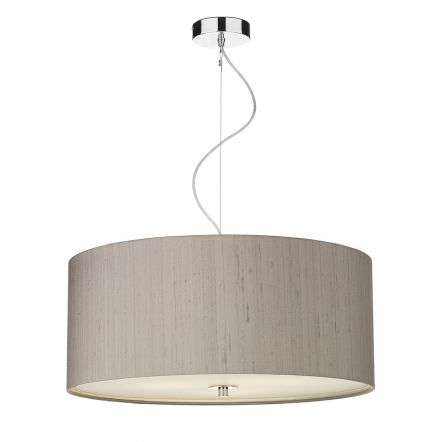 Renoir 60cm 3 Light Pendant C/W Truffle Silk Shade