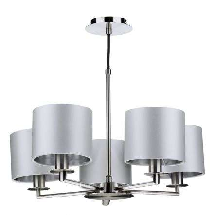 Rex 5 Light Pendant in Satin Nickel (Shade Colour Options)