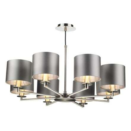 Rex 8 Light Pendant in Satin Nickle (Shade Colour Options)