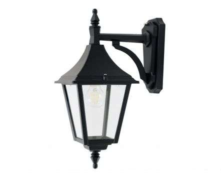 Ries Medium 4-Sided Downturned Wall Lantern Black