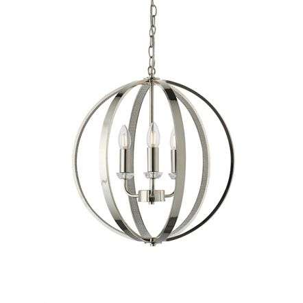 Ritz 3 Light Nickel & Crystal Pendant
