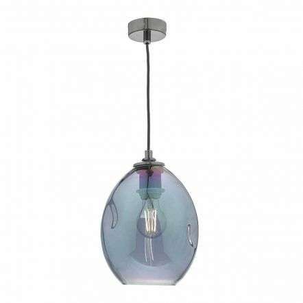 Rogan 1lt Pendant Black & Iridised Glass